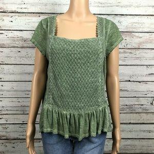 Chip & Pepper Shirt Top Green Square Neck Crochet